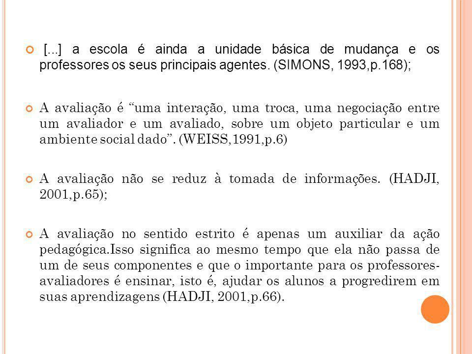[...] a escola é ainda a unidade básica de mudança e os professores os seus principais agentes. (SIMONS, 1993,p.168);